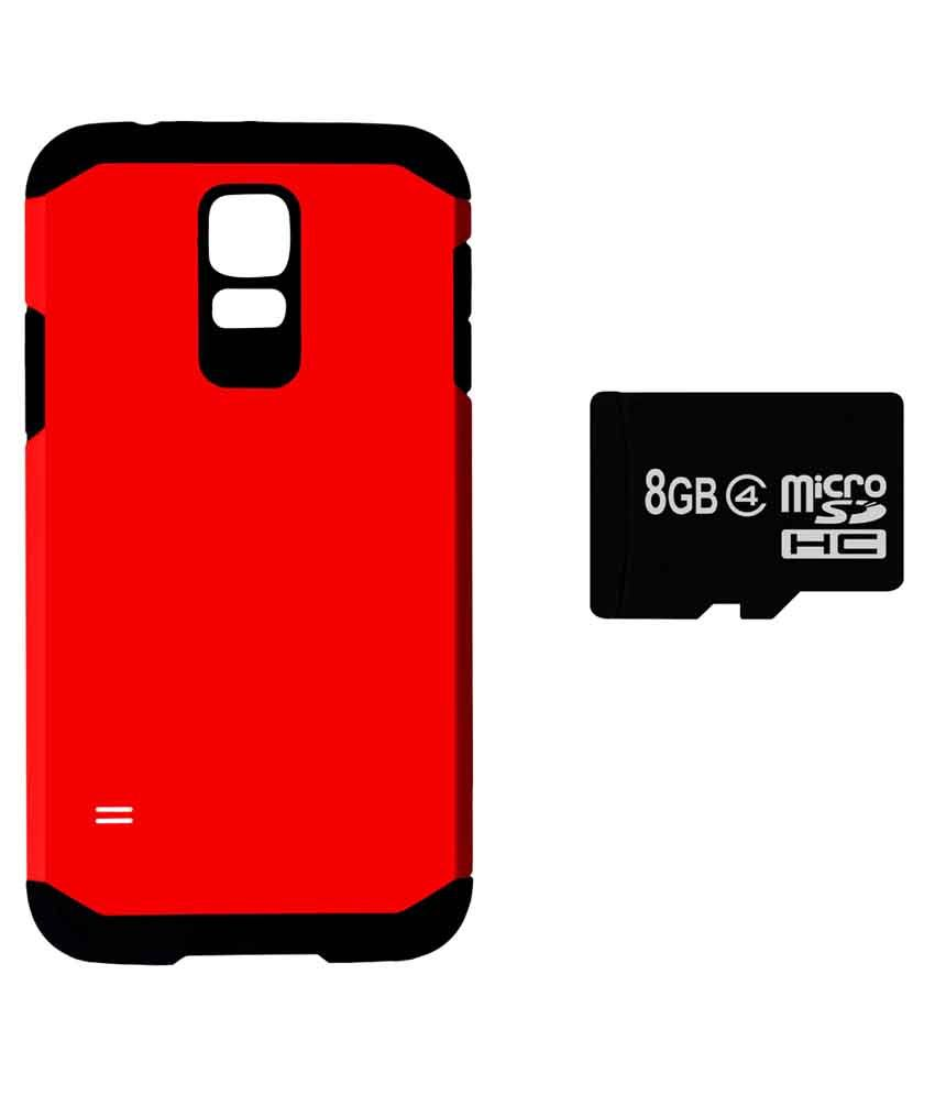 Easy2Sync Hard Shell Back Cover Case For Samsung Galaxy S5 With 8GB Memory Card - Red