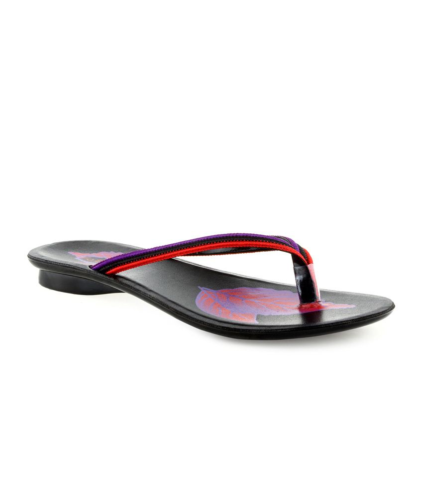 Footick Red and Purple Flat Synthetic Women Flip Flops