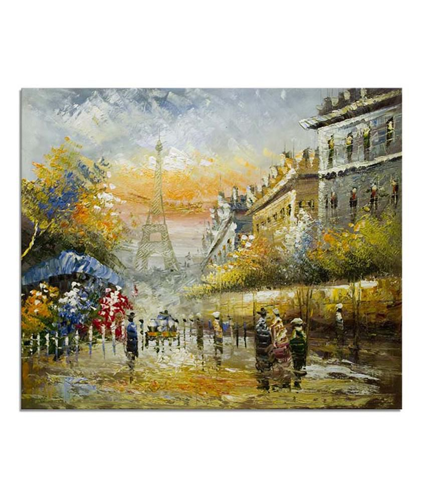 Painting Mantra Eiffel tower Painting Canvas Print Wall Hanging