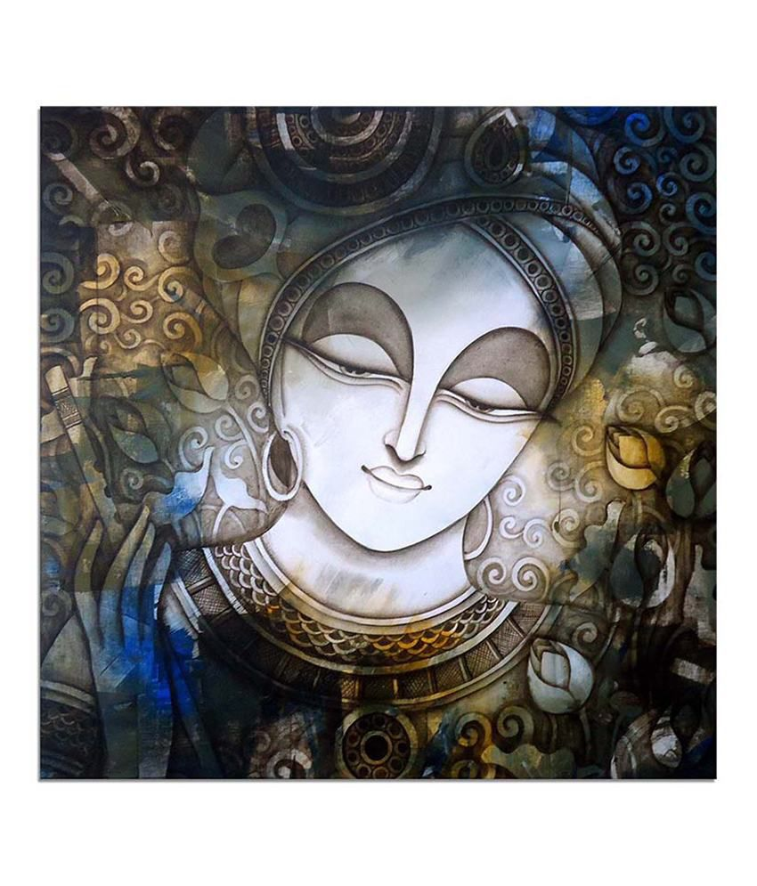 Painting Mantra Krishna Devotion Painting Canvas Print Wall Hanging