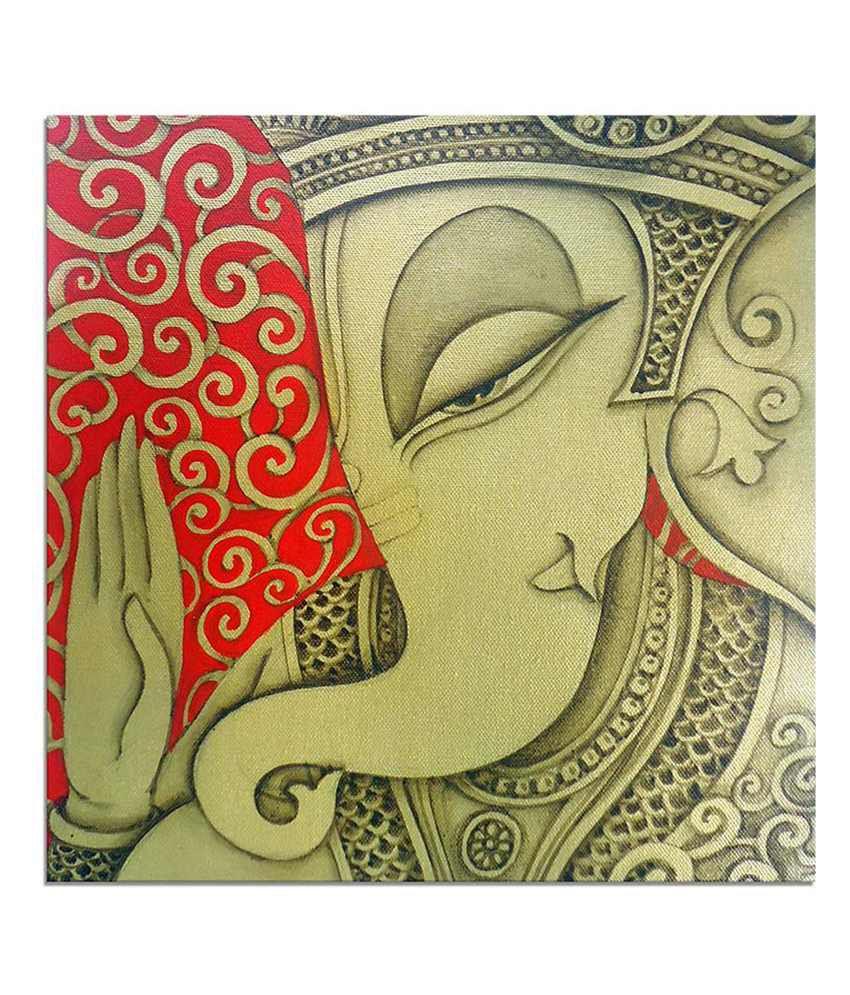 Painting Mantra Lord Ganesha Painting Canvas Print Wall Hanging