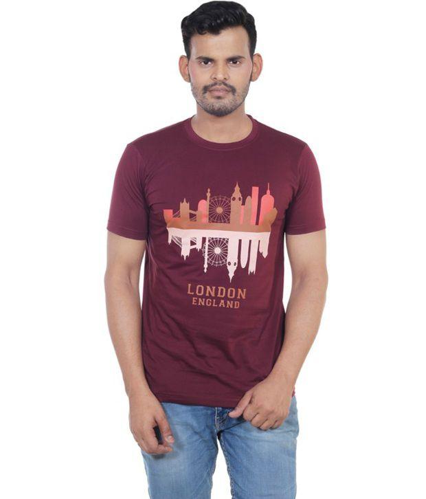 Vacuum Maroon Half Sleeves Printed Cotton T-Shirt