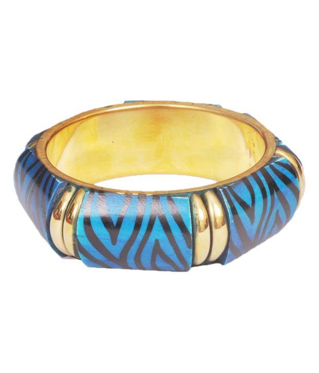 Amaya Stylish Blue Zebra Print Bone Bangle