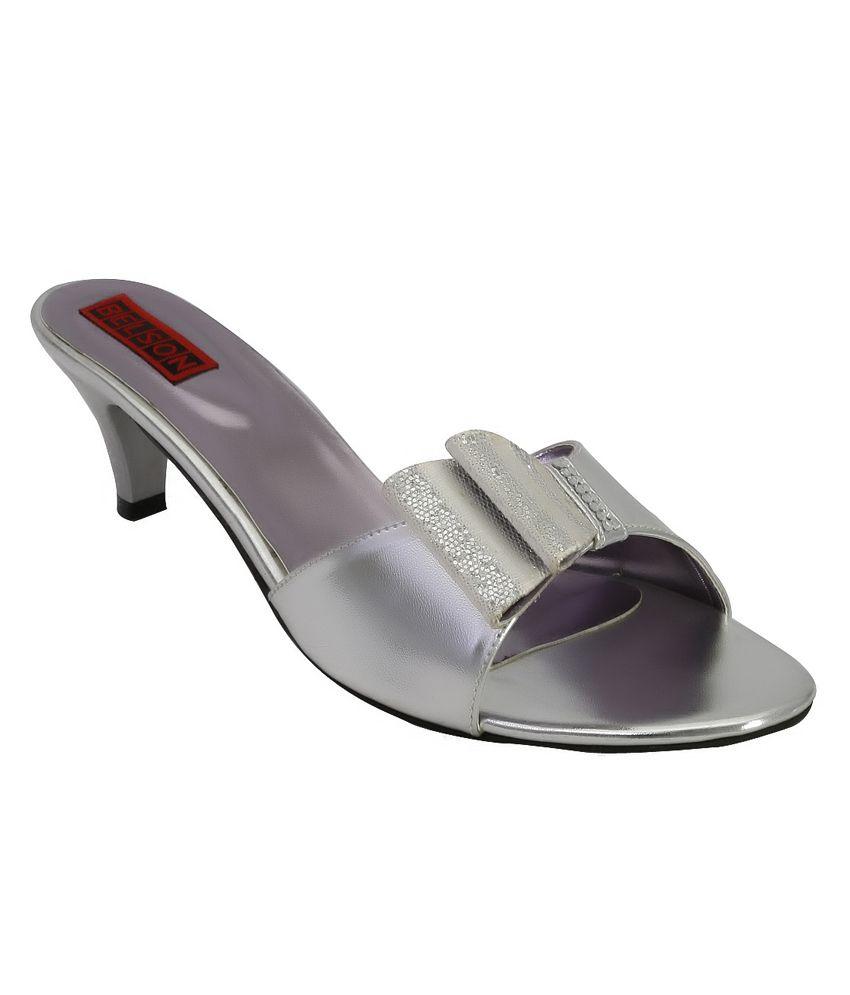Belson Black Satin Party Wear Medium Heel Slip - On