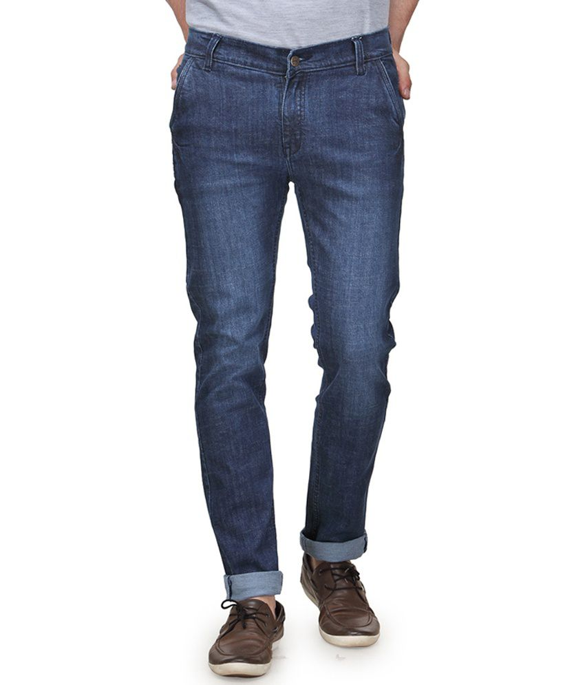 Randier Blue Cotton Blend Slim Fit Adorable Jeans