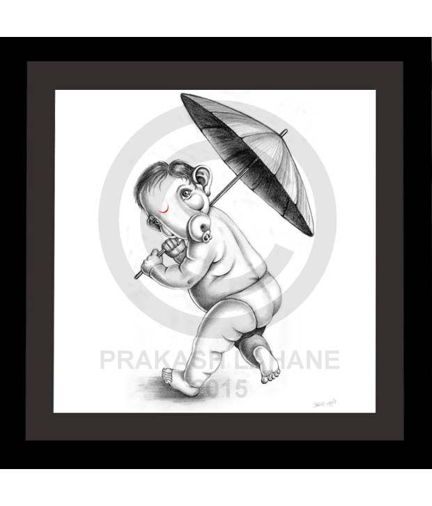 Truly Godly Cute Baby Ganesha Playing With Umbrella Sketch Frame ...