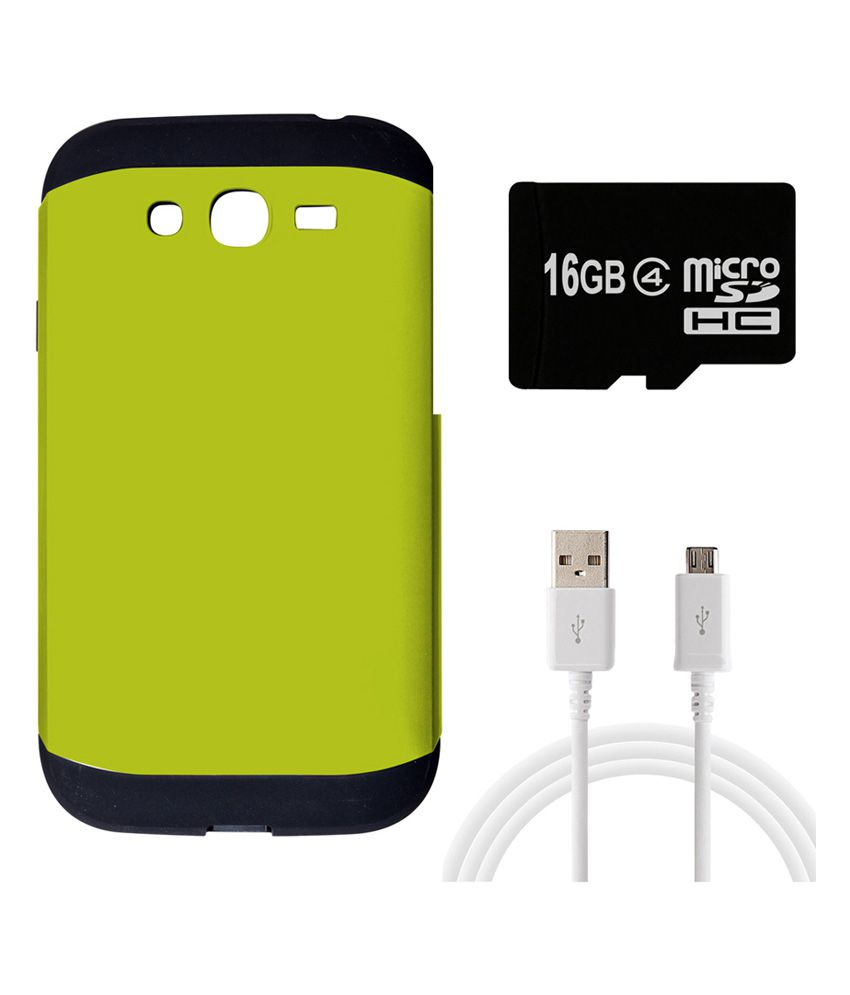 Alexis24 Slim Armour Back Cover for Apple I Phone 5C - Green with Data Cable and 16 Gb Memory Card