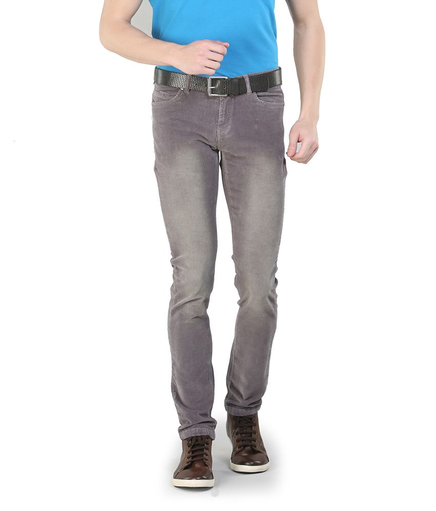 Platinum League Gray Cotton Slim Fit Casual Corduroy