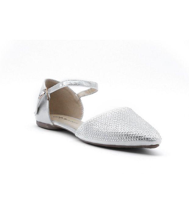 Shuberry Silver Satin Ballerinas