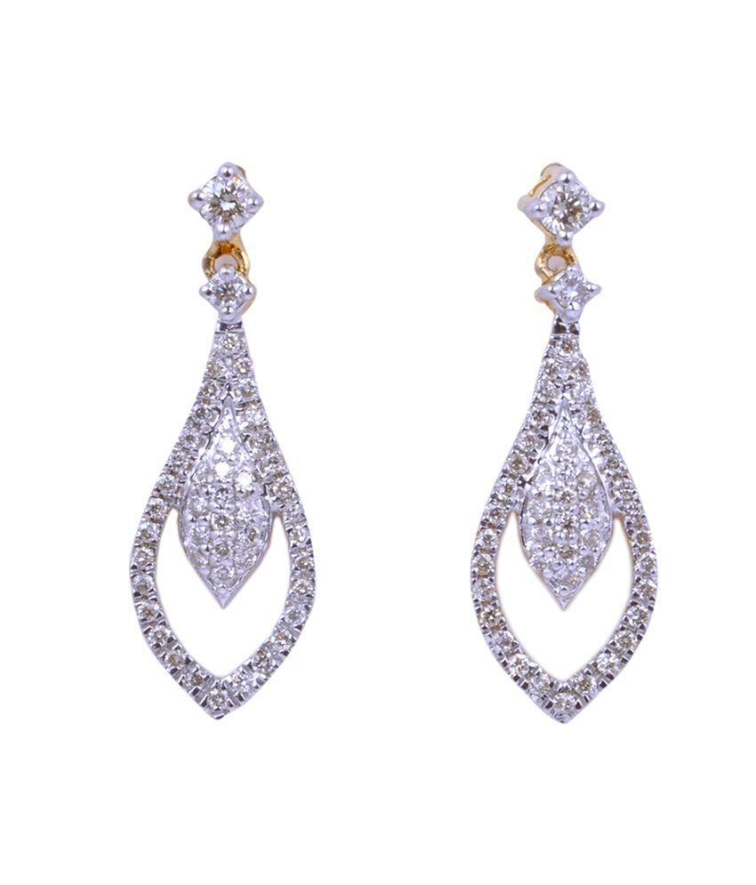 Ansh Jewels Yellow Gold Real Diamond 18 Kt Earrings (Style Ne-00734)