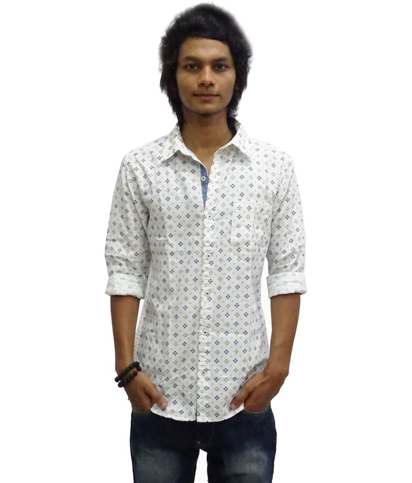 8c1fc6d9fc45 Zara Man White Printed Cotton Full Sleeve Casual Shirt - Buy Zara Man White  Printed Cotton Full Sleeve Casual Shirt Online at Best Prices in India on  ...