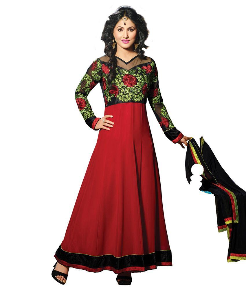 BanoRani Black Faux Georgette Embroidered Anarkali Semi-Stitched Dress Material