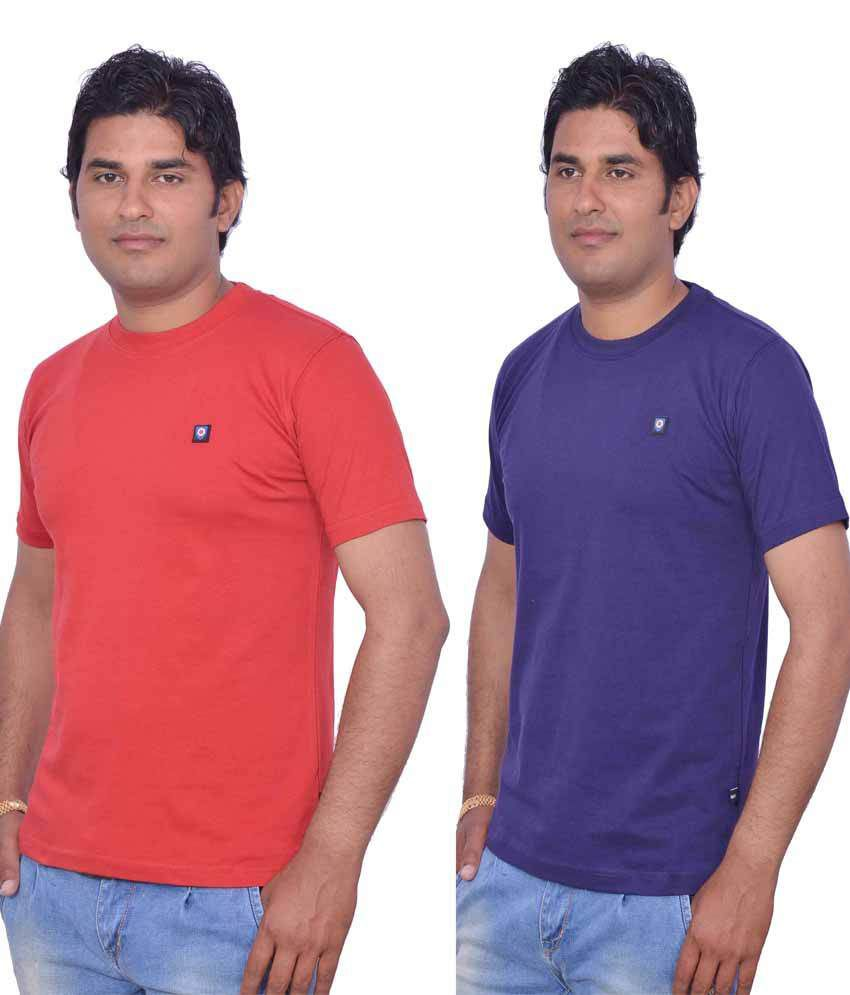 Leaf Blue Cotton Round Neck Red and Purple T-Shirt pack of 2