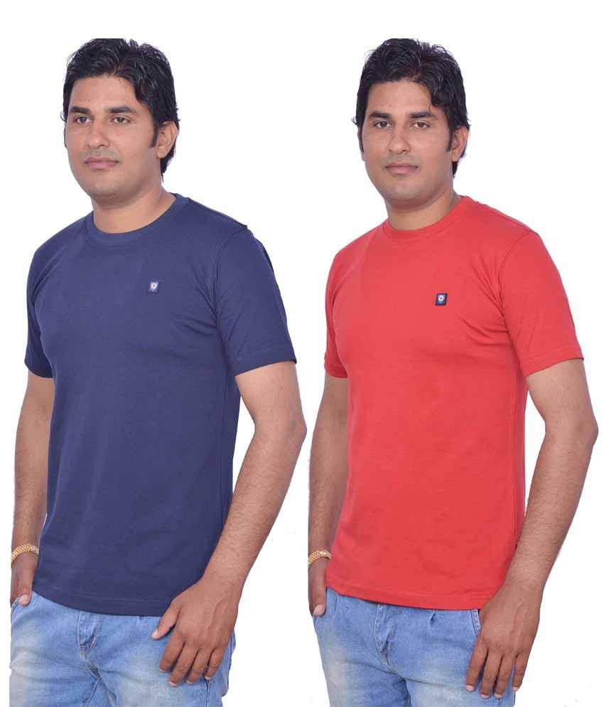 Leaf Blue Cotton Round Neck Red and Blue T-Shirt pack of 2