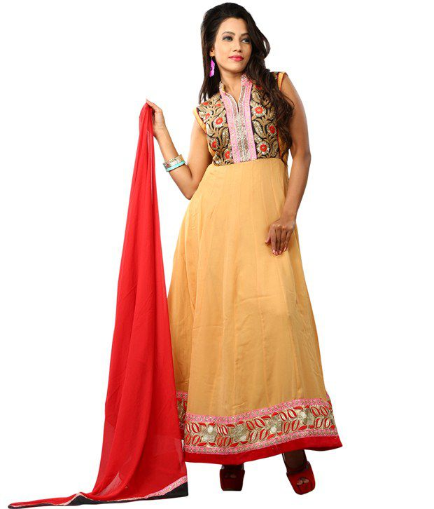 RG Fashion Yellow Pure Georgette Semi-Stitched Straight Fit Full Lenghth Dress Material