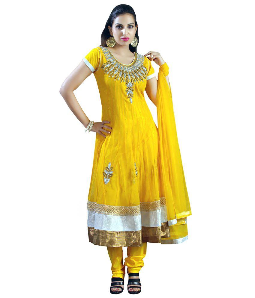 Shubham Fashions Yellow Net Embroidered Salwar