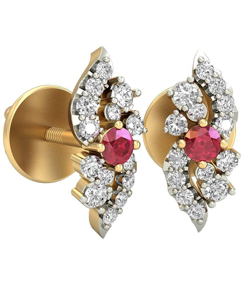The Lizaveta Diamond & Gemstone Earrings 14KT Gold WearYourShine by PC Jeweller