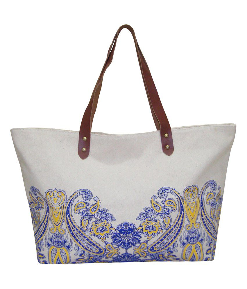 Anges Bags Blue Canvas Cloth Tote Bag