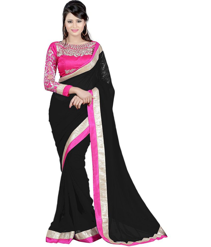 e1e0b4ea24 Kalagiri Black Faux Georgette Saree - Buy Kalagiri Black Faux Georgette  Saree Online at Low Price - Snapdeal.com