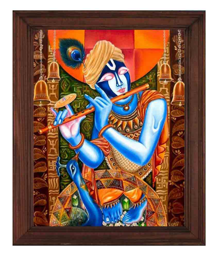 Sleepnature Textured Canvas Krishna in Blue Portrait Painting