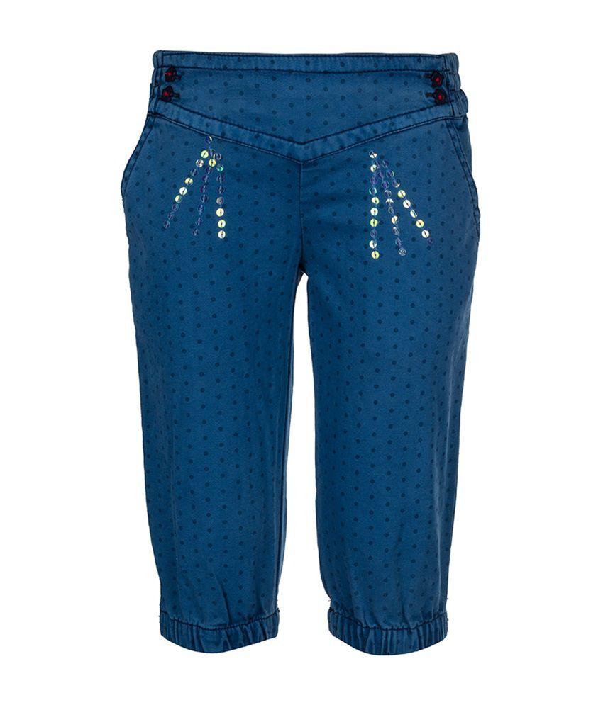 Tickles Blue Cotton Capri