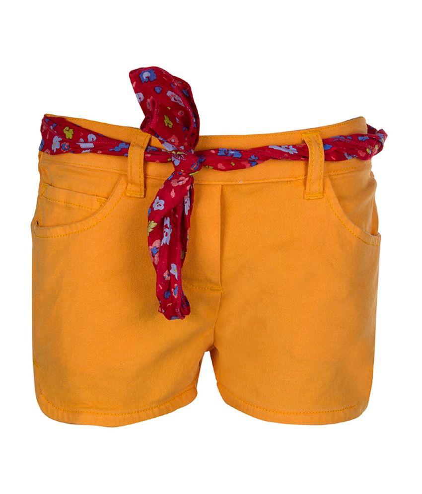 Tickles Orange Solid Shorts