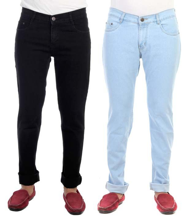 Haltung Multicolor Cotton Blend Regular Fit Stretchable Denim Jeans - Pack of 2