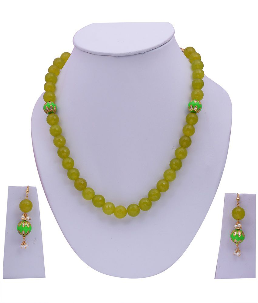 Jewelina Gems Green Traditional Colour Spark Necklace Set