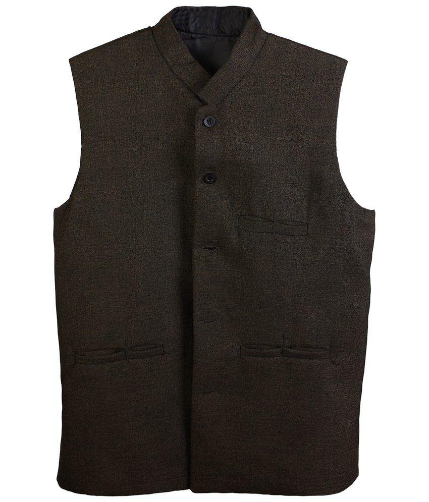 Selfieseven Black Semi Formal Waistcoat