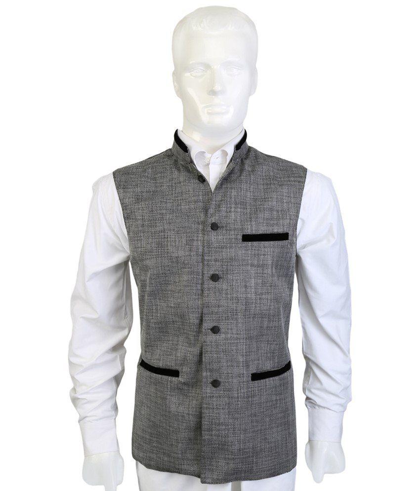 Selfieseven Elegant Gray Semi Formal Waistcoat
