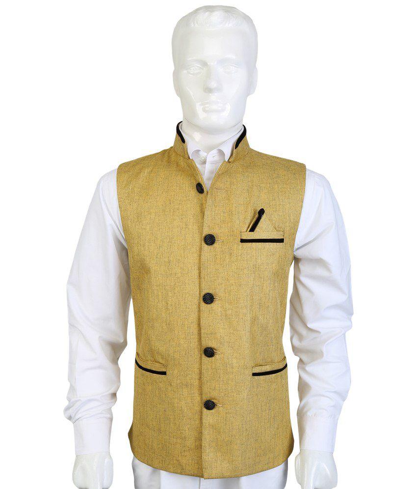 Selfieseven Golden & Black Party Wear Waistcoat