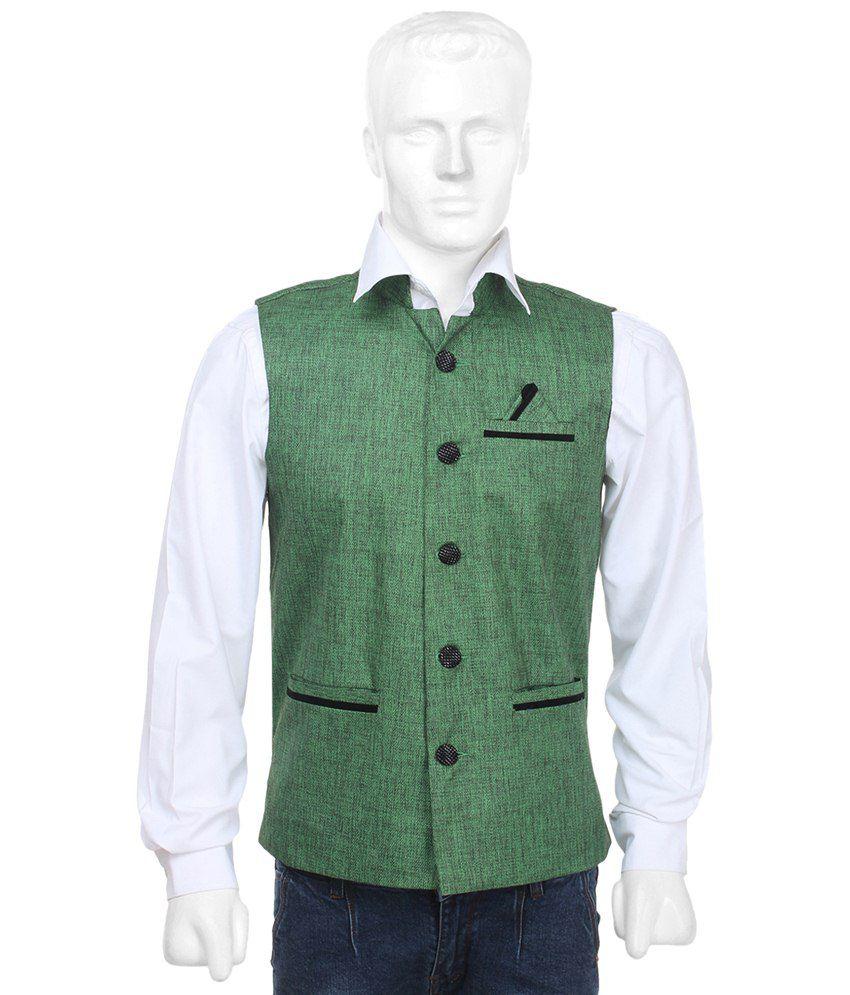 Selfieseven Green Party Wear Waistcoat
