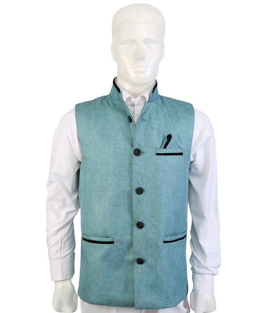 Selfieseven Turquoise Party Wear Waistcoat
