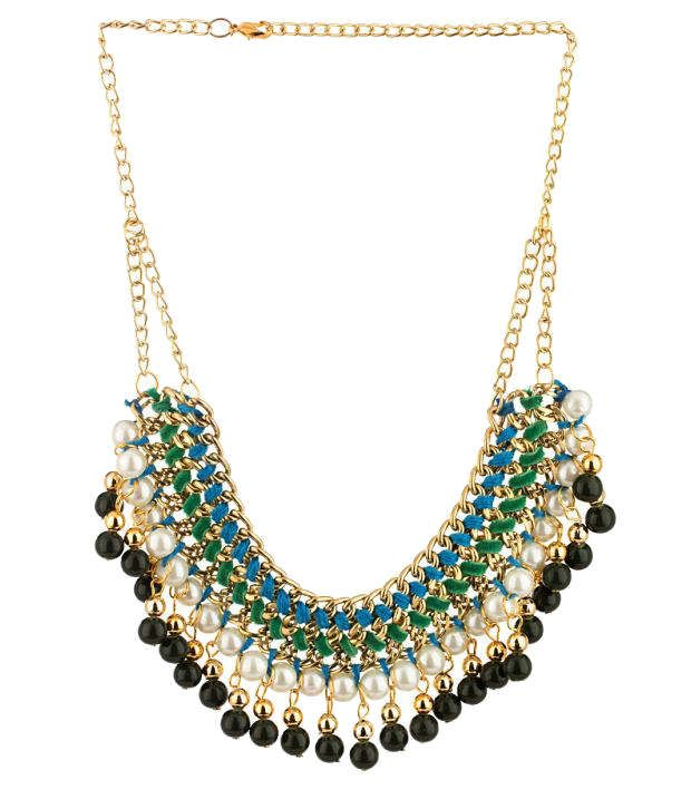 Voylla Style Diva Green and Black Contemporary Necklace