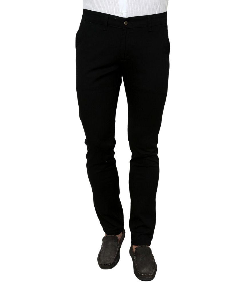 Zaab Black Cotton Slim Fit Casual Trouser