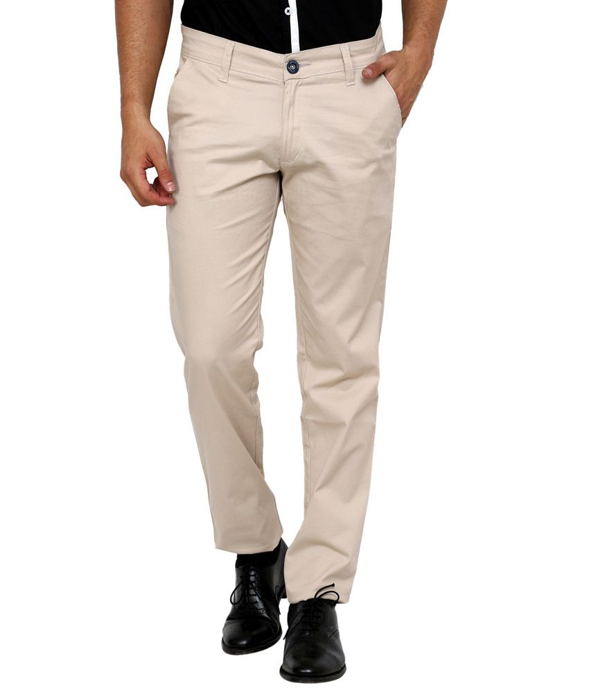 Zaab White Cotton Slim Fit Casual Trouser