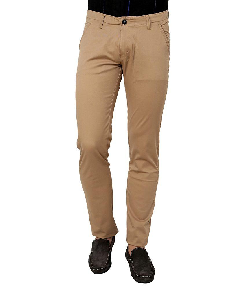 Zeco Cotton Khaki Formal Trouser