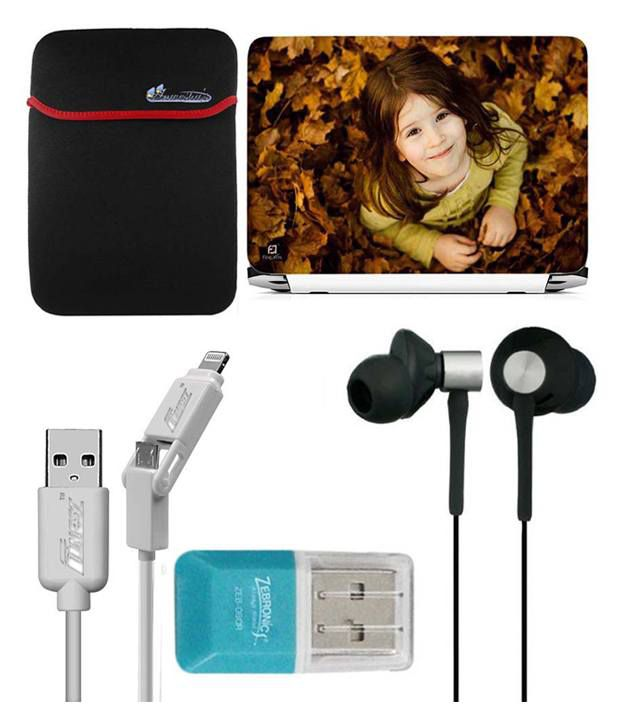 Anwesha's Laptop Sleeve With Lightning & Micro Usb Cable Ubon Ub-85 Earphone Card Reader And Laptop Skin - Cute Girl Looking Up
