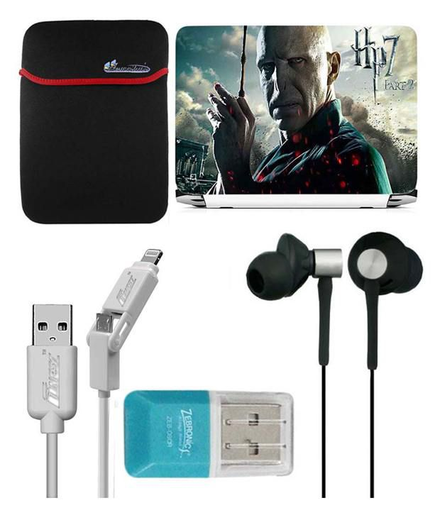 Anwesha's Laptop Sleeve With Lightning & Micro Usb Cable Ubon Ub-85 Earphone Card Reader And Laptop Skin - Hp7 Part 2 Man