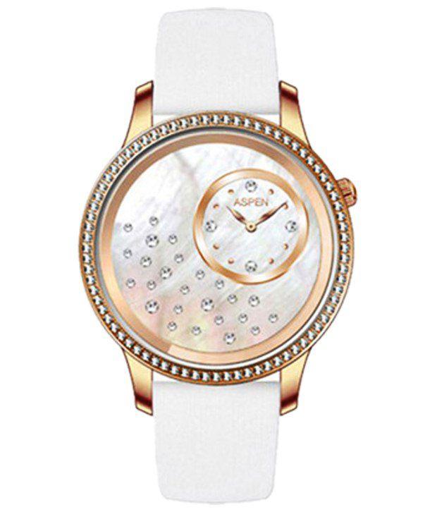 Aspen White Leather Analog Watch