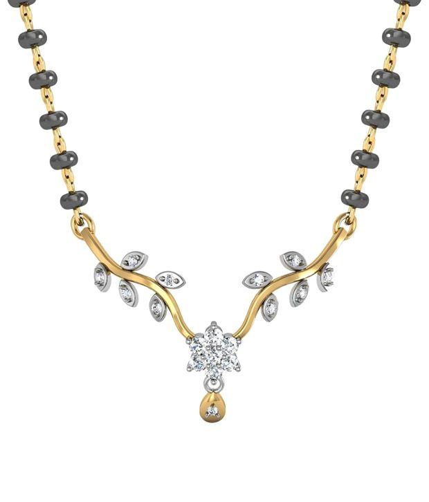 Avsar Fancy 18kt Real Gold  amp; 0.25 Ct Diamond Mangalsutra