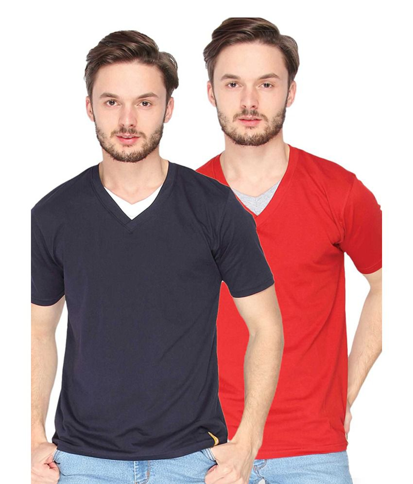 Campus Sutra Blue & Red V-Neck T-Shirts (Combo Of 2)