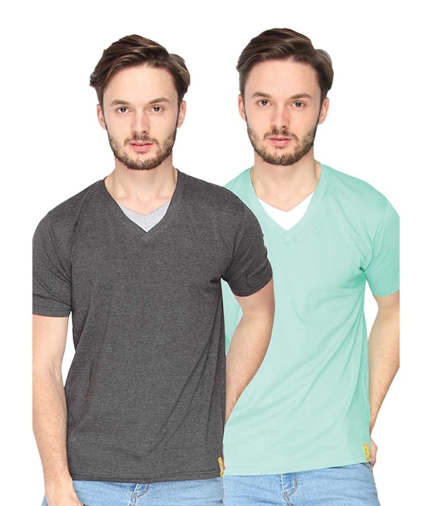 Campus Sutra Charcoal Grey & Sea Green V-Neck T-Shirts (Combo Of 2)