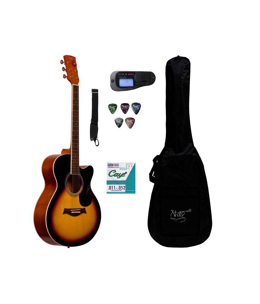 Xtag Sunburst Guitar Acoustic Guitars With Inbuilt Tuner