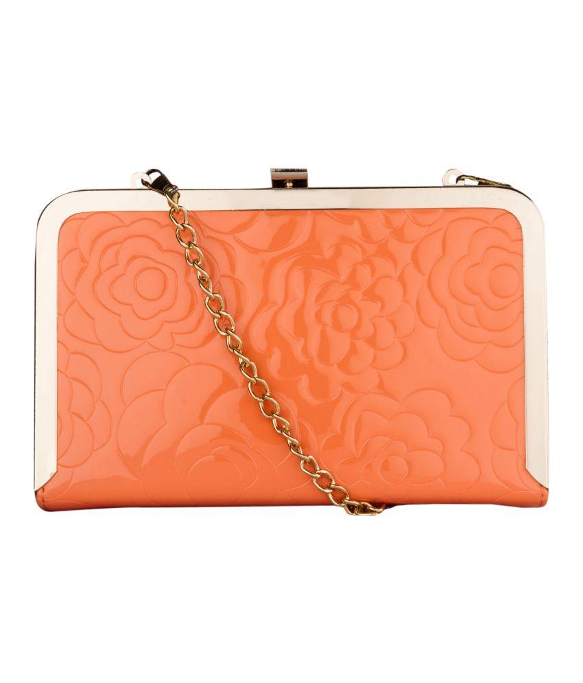 Fashion Knockout Elegant Peach Square Box Clutch