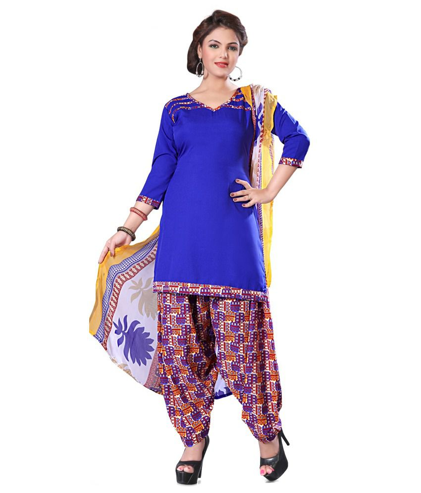 i3 Fashion Blue Art Crepe Unstitched Dress Material