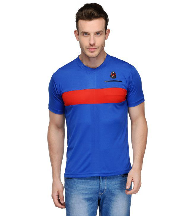 Scott Crackle Sulphur Dryfit Blue Polyester Henley Neck Men T Shirt