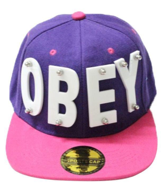 TakeInCart Purple Obey 3D Snapback Hip Hop Cap