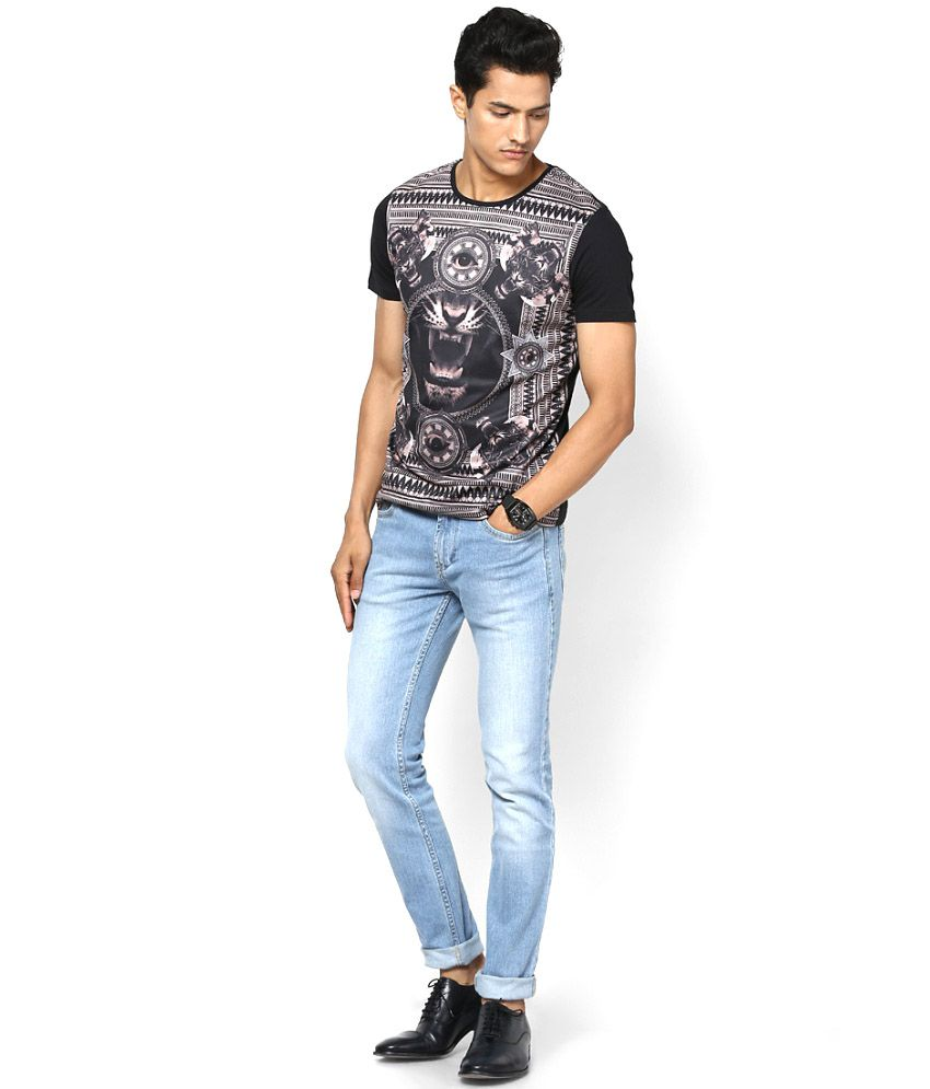 United Colors Of Benetton Black Polyester Round Neck T Shirt