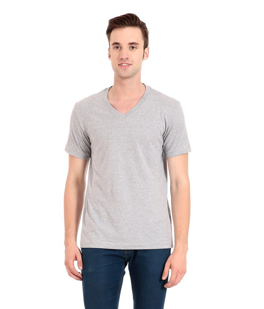 Zeug Fashion Gray Cotton V-neck T-shirt